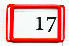 Calendar date. With number seventeen Royalty Free Stock Photos