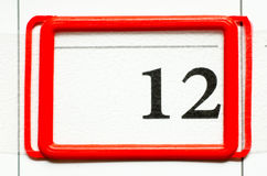 Calendar date. With number twelve Stock Image