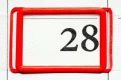 Calendar date. With number twenty eight Stock Photography