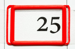 Calendar date. With number twenty five Stock Photo