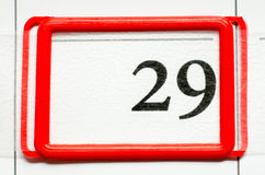 Calendar date. With number twenty nine Royalty Free Stock Images