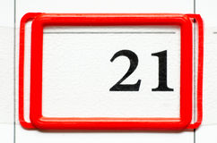 Calendar date. With number twenty one Stock Image