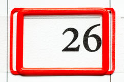 Calendar date. With number twenty six Stock Images