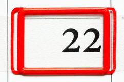 Calendar date. With number twenty two Stock Photo