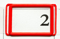 Calendar date. With number two Stock Images