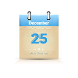 Calendar Date Page Christmas 25 December. Flat Vector Illustration Stock Photo