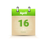 Calendar Date Page Easter Holiday 16 April Stock Photo