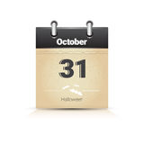 Calendar Date Page Halloween 31 October Royalty Free Stock Photo