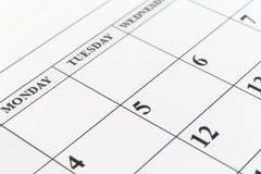 Calendar date Planner day week month Royalty Free Stock Images