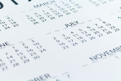 Calendar date Planner day week month Stock Photo