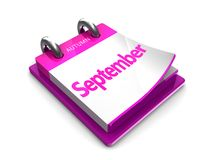Calendar date is september. September at the tear-off calendar on a white background Stock Images