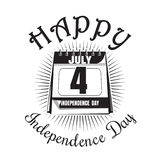 Calendar with date - 4th of July. Independence Day. Icon. Happy Independence Day. Calendar icon isolated on white background. Vector illustration stock illustration
