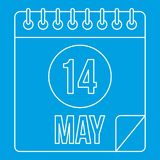 Calendar with the date 14th May icon outline style. Calendar with the date 14th May icon blue outline style isolated vector illustration. Thin line sign Stock Photos