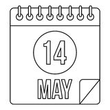 Calendar with the date 14th May icon outline style. Calendar with the date 14th May icon. Outline illustration of calendar with the date 14th May vector icon for Stock Photo
