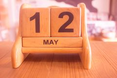 Calendar of date on 12th may make by wooden template royalty free stock photos