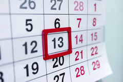 Calendar 13 Royalty Free Stock Photos