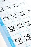 Calendar dates Royalty Free Stock Images