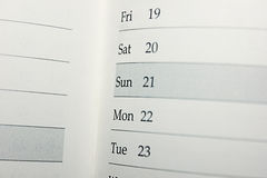 Calendar with dates and days Royalty Free Stock Images