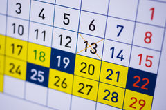 Calendar with dates Stock Image