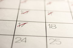 Calendar dates marked out Stock Photography