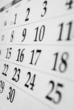 Calendar with dates Royalty Free Stock Photos