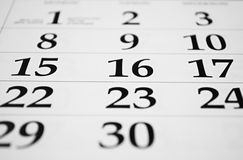Calendar with dates Royalty Free Stock Images