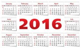 Calendar 2016 Stock Images