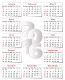 Calendar 2016. Calendar dates for 2016 year Stock Images