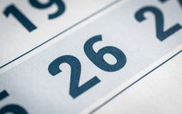 Calendar 26 day. Close up for you ideas Royalty Free Stock Images