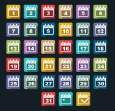 Calendar Day icons set with long shadow. Isolated Stock Photo