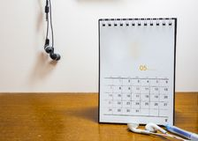 Calendar day in May 2017. On the wood desk Stock Image