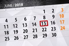 Free Calendar, Day, Month, Business, Concept, Diary, Deadline, Planner, State Holiday, Table, Color Illustration, 2018, June 15 Stock Image - 116770841