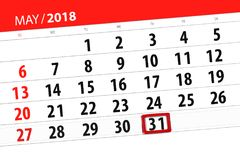 Calendar, day, month, business, concept, diary, deadline, planner, state holiday, table, color illustration, 2018, may 31. Calendar day, month, business, concept Stock Image