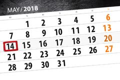 Calendar, day, month, business, concept, diary, deadline, planner, state holiday, table, color illustration, 2018, may 14. Calendar day, month, business, concept royalty free illustration