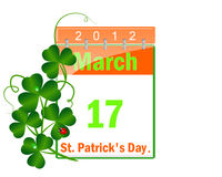 Calendar of day St Patrick and leaves of a clover. Stock Photo