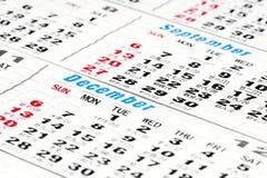Calendar days. Detail of the days in the calendar (September,December stock images