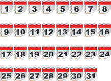 Calendar days. Colorful calendar days isolated on white Stock Image