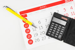 Calendar Days With Calculator And Pen royalty free stock image