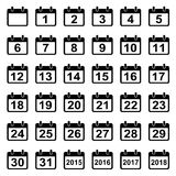 Calendar days icons set. Vector set collection of 36 calendar icons with all 31 days  on white background. Flat style elements for web design Stock Photos