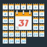 Calendar with days of month. Flat style Stock Images