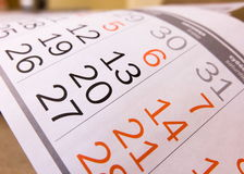 Calendar. Days of the calendar in the typography royalty free stock photo