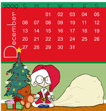 Calendar - december 2009. Page of december calendar 2009, with a little christmas scene where we can see a little girl in a Santa Claus costume, a christmas tree Royalty Free Illustration
