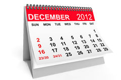 Calendar December 2012. 2012 year calendar. December calendar on a white background Royalty Free Stock Photography