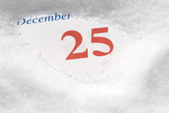 Calendar December 25Th. With snow Royalty Free Stock Photo