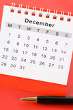 Calendar December. Close up with red background Royalty Free Stock Photos