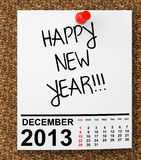 Calendar December 2013. On blank note paper with Happy New Year Sign Stock Photography