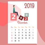 Calendar 2019. december calendar. calendar vector vector illustration
