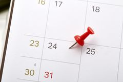 December 24 Christmas Eve With red pin. Calendar December 24 Christmas Eve With red pin, copy space royalty free stock photography