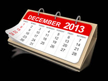 Calendar -  december 2013 (clipping path included). Calendar year 2013 image. Image with clipping path Royalty Free Stock Photos