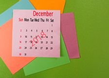 Calendar for December 2018 closeup Royalty Free Stock Photos